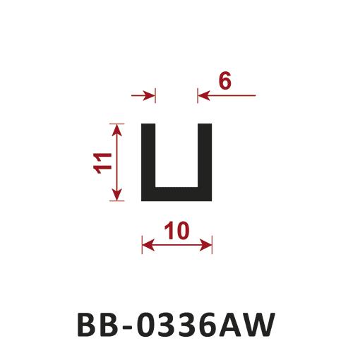 osłona krawędzi - uszczelka typu U BB-0336AW 6 mm