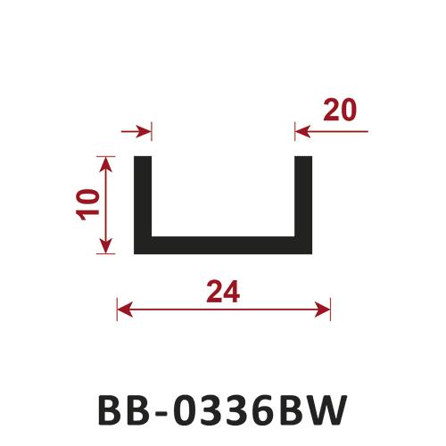 osłona krawędzi - uszczelka typu U BB-0336BW 20 mm
