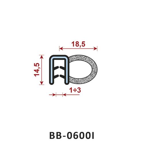 uszczelka krawędziowa B-0600l zakres zacisku 1-3 mm