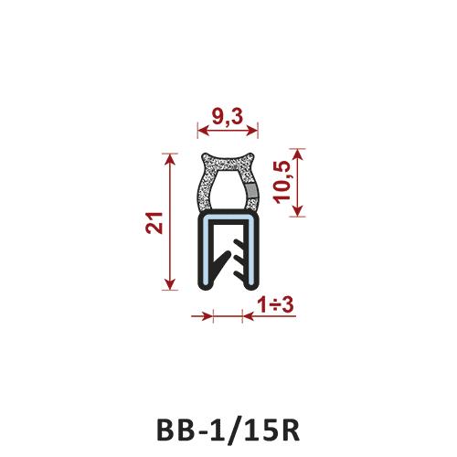 uszczelka krawędziowa BB-1/15R zakres zacisku 1-3 mm - uszczelka na rant