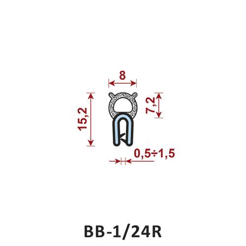 uszczelka krawędziowa BB-1/24R zakres zacisku 0,5-1,5 mm - uszczelka na rant