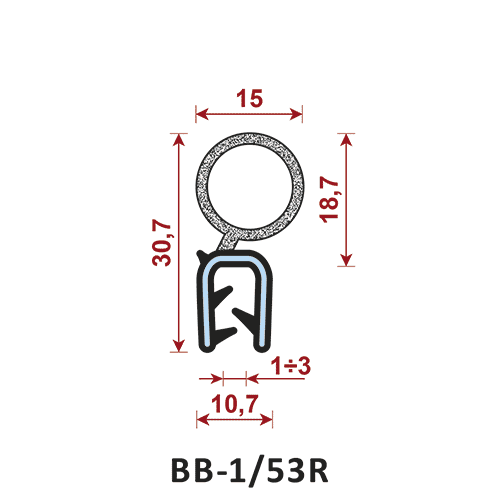 uszczelka krawędziowa BB-1/53R zakres zacisku 1-3/10,7 mm - uszczelka na rant