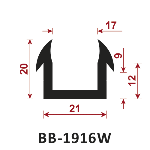 osłona krawędzi - uszczelka typu U BB-1916W 17 mm