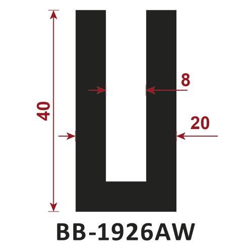 osłona krawędzi - uszczelka typu U BB-1926AW 8 mm
