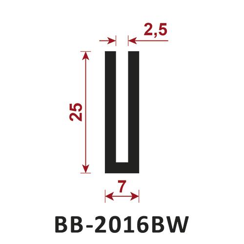 osłona krawędzi - uszczelka typu U BB-2016BW 2,5 mm
