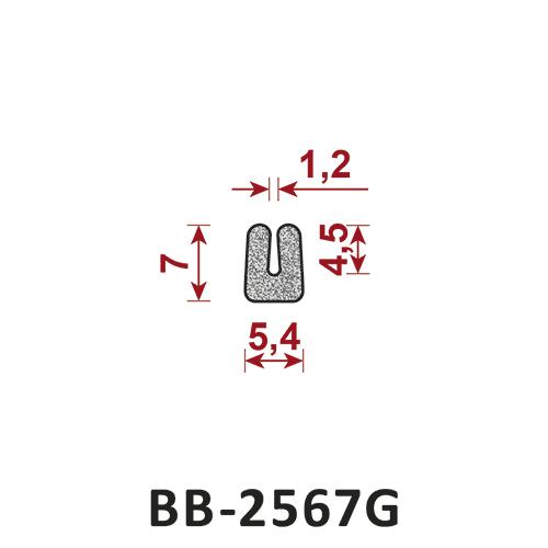 uszczelka z gumy komórkowej porowatej BB-2567G 1,2x5,4 mm