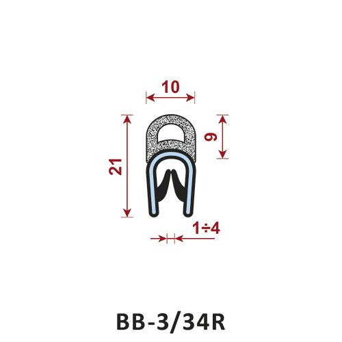 uszczelka krawędziowa BB-3/34R zakres zacisku 1-4 mm - uszczelka na rant
