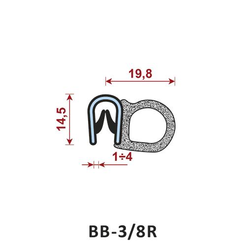 uszczelka krawędziowa BB-3/8R zakres zacisku 1-4 mm