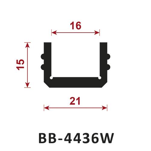 osłona krawędzi - uszczelka typu U BB-4436W 16 mm