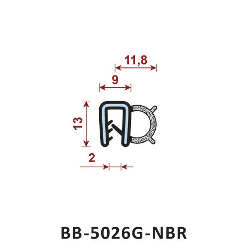 uszczelka krawędziowa BB-5026G-NBR zakres zacisku 9 mm