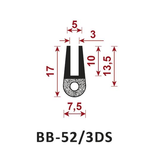 osłona krawędzi - uszczelka typu U BB-52/3DS 5 mm