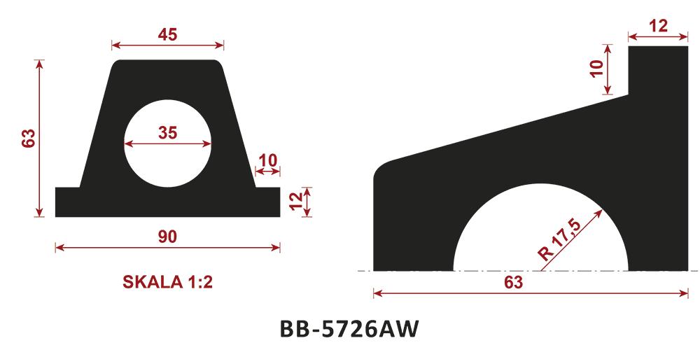 odbojnik gumowy BB-5726AW - odbojnica gumowa