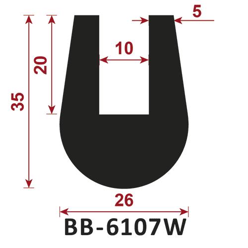 osłona krawędzi - uszczelka typu U B-6107W 10 mm