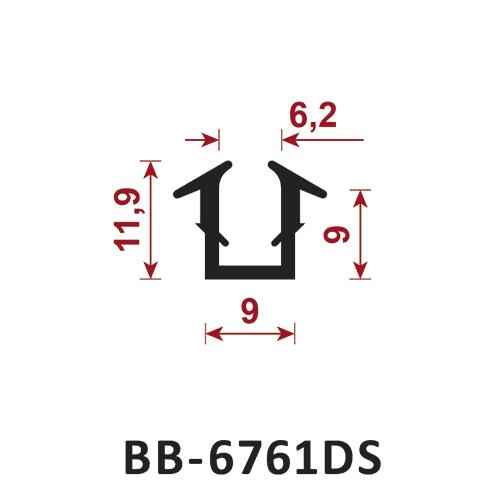 osłona krawędzi - uszczelka typu U BB-6761DS 6,2 mm