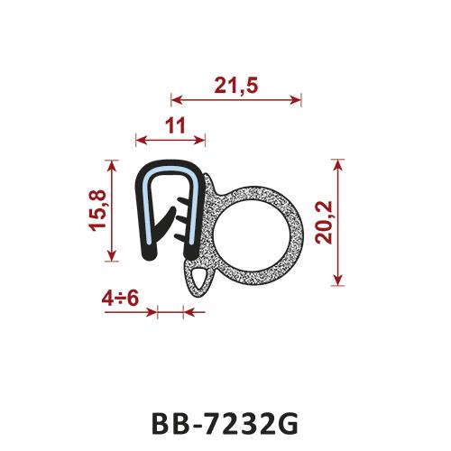 uszczelka krawędziowa BB-7232G zakres zacisku 4-6/11 mm