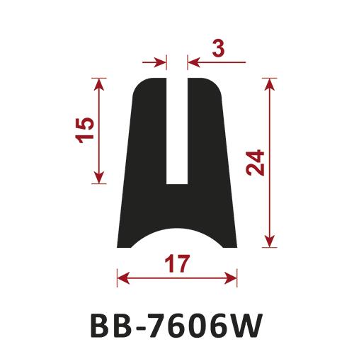 osłona krawędzi - uszczelka typu U BB-7606W 3 mm