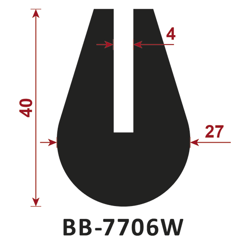 osłona krawędzi - uszczelka typu U BB-7706W 4 mm