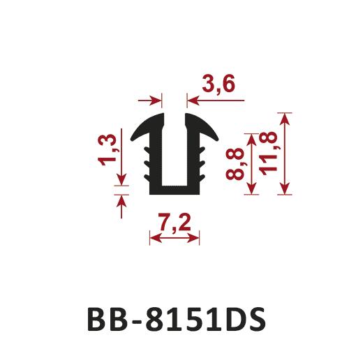 osłona krawędzi - uszczelka typu U BB-8151DS 3,6 mm