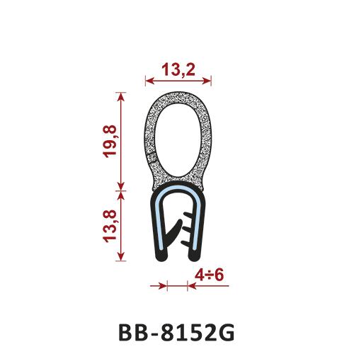 uszczelka krawędziowa BB-8152G zakres zacisku 4-6 mm - uszczelka na rant