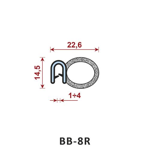 uszczelka krawędziowa BB-8R zakres zacisku 1-4 mm