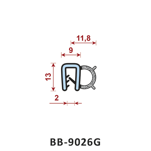 uszczelka krawędziowa BB-9026G zakres zacisku 9 mm