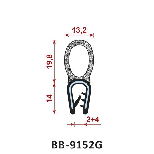 uszczelka krawędziowa BB-9152G zakres zacisku 2-4 mm - uszczelka na rant