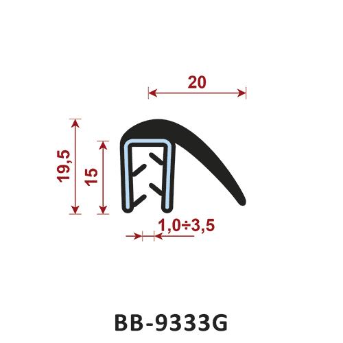 uszczelka krawędziowa BB-9333G zakres zacisku zakres zacisku 1-3,5 mm
