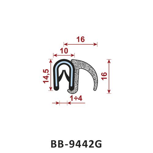 uszczelka krawędziowa BB-9442G zakres zacisku 1-4 mm - uszczelka na rant
