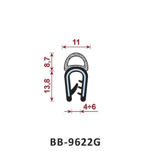 uszczelka krawędziowa BB-9622G zakres zacisku 4-6 mm - uszczelka na rant