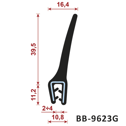 uszczelka krawędziowa BB-9623G zakres zacisku 2-4/10,8 mm