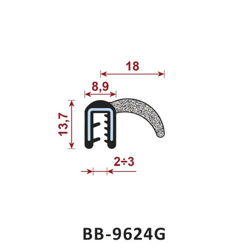 uszczelka krawędziowa BB-9624G zakres zacisku 2-3 mm - uszczelka na rant