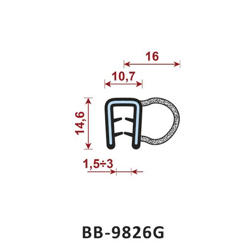 uszczelka krawędziowa BB-9826G zakres zacisku 1,5-3/10,7 mm