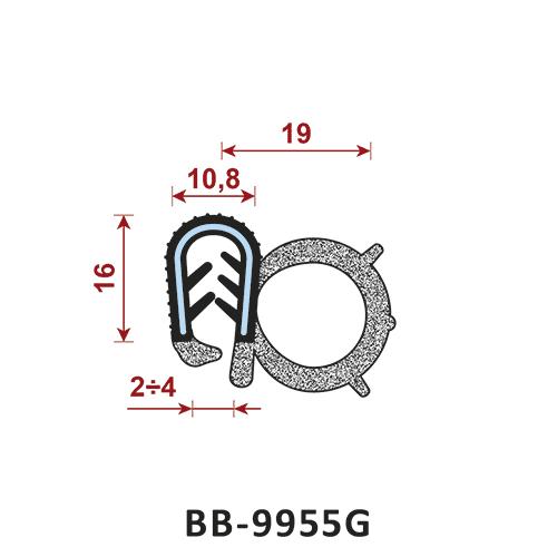 uszczelka krawędziowa BB-9955G zakres zacisku 2-4/10,8 mm