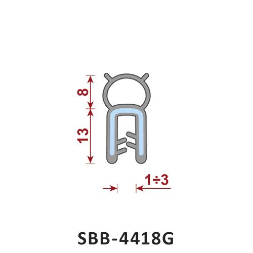 uszczelka silikonowa krawędziowa SBB-4418G zakres zacisku 1-3 mm