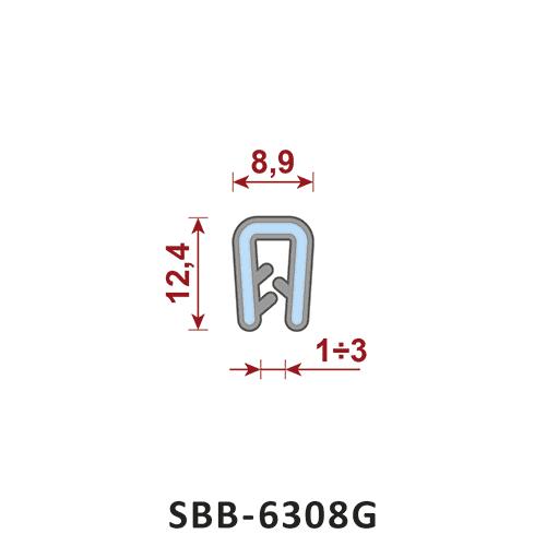 uszczelka silikonowa krawędziowa SBB-6308G zakres zacisku 1-3 mm