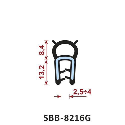 uszczelka silikonowa krawędziowa SBB-8216G zakres zacisku 2,5-4 mm