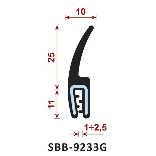 uszczelka silikonowa krawędziowa SBB-9233G zakres zacisku 1-2,5 mm