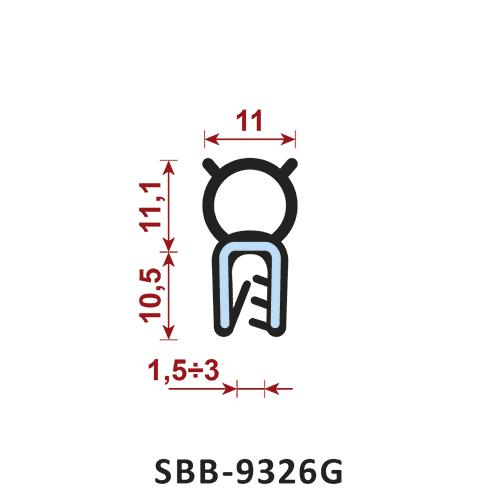 uszczelka silikonowa krawędziowa SBB-9326G zakres zacisku 1,5-3 mm